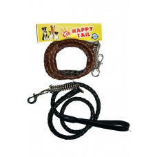 Happy Tail Rope Leather Leash With Spring Hook