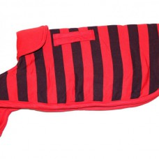 Winter Dog Coat Red With Black Stripes (size 28N)